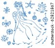 Winter doodle with christmas design elements - stock vector