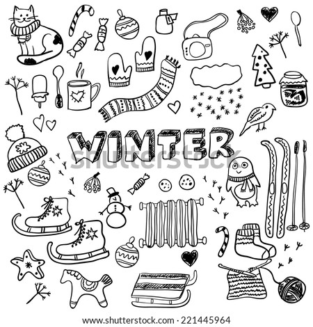 Winter doodles collection. Stylish design elements: ice skates, christmas tree, snowman, socks and others. - stock vector
