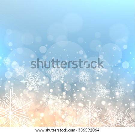 Winter elegant background with snowflakes, vector christmas illustration. - stock vector