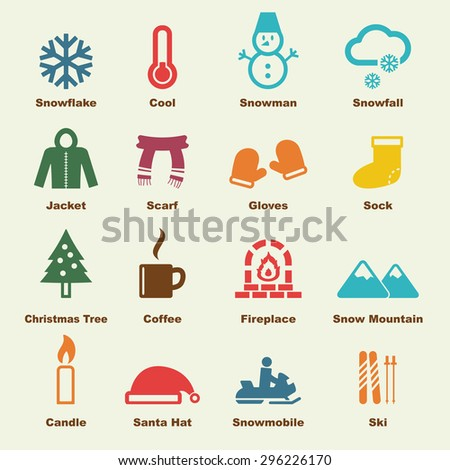 winter elements, vector infographic icons - stock vector