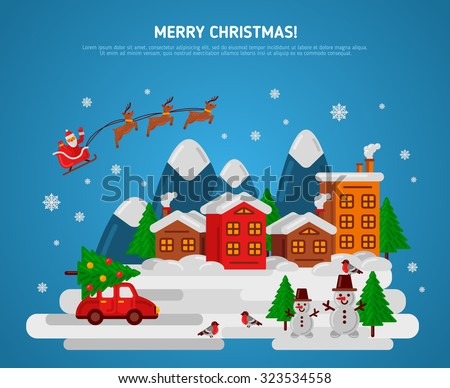 Winter Evening Village Street with Flying Sledge Reindeer and Santa, Car and Snowman. Vector Illustration. Bullfinch, Christmas Tree with Balls. Mountains Town Flat Landscape, Christmas Holidays