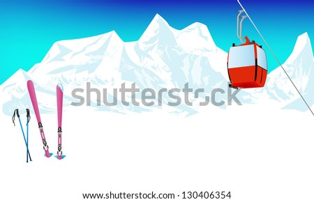 Winter extreme sports skiing rest in Alpine resorts. Vector - stock vector