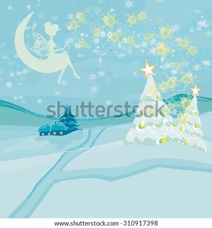 Winter fairy - stock vector