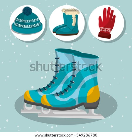 Winter fashion wear and accesories graphic design, vector illustration