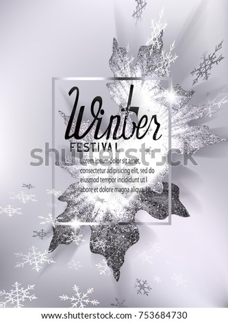 Winter festival invitation card flying snowflakes stock vector winter festival invitation card with flying snowflakes and frozen maple leaves vector illustration stopboris Choice Image