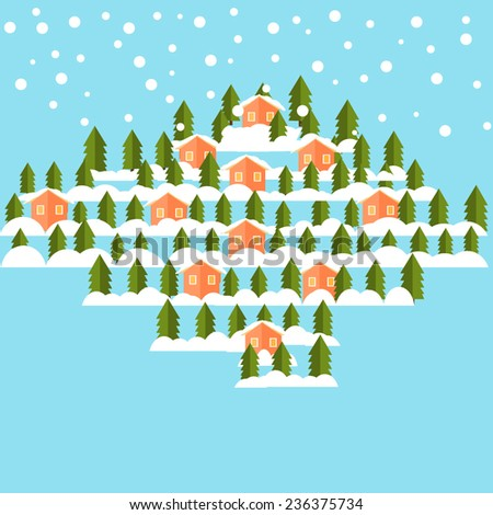 Winter flat vector background