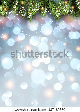 Winter flickering background with fir branches. Vector illustration. - stock vector