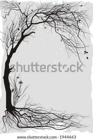 Winter floral background - stock vector