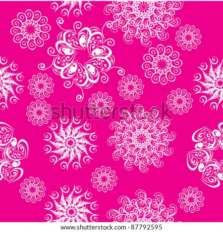 winter floral background with snowflakes. illustration