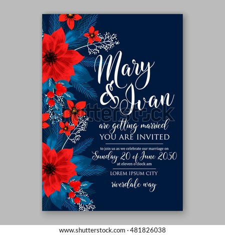 Winter floral wreath of poinsettia fir thee branch on wooden background Christmas invitation