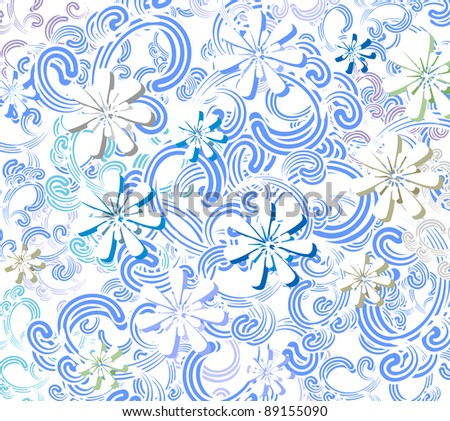 Winter flowers background. Vector illustration.