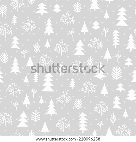 Winter forest background.  Seamless pattern for winter and christmas theme. Vector illustration.  - stock vector