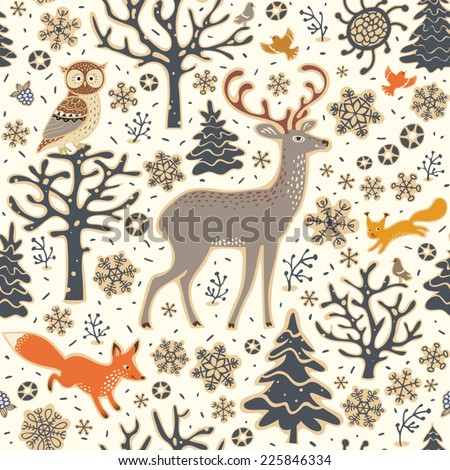Winter forest background. Seamless pattern. Owl, deer, fox, squirrel, birds, trees and snowflakes. - stock vector