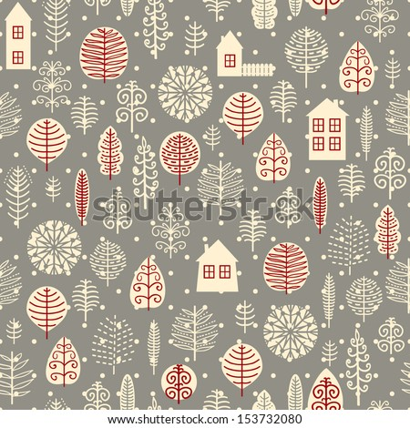 Winter forest background. Vector illustration.  - stock vector