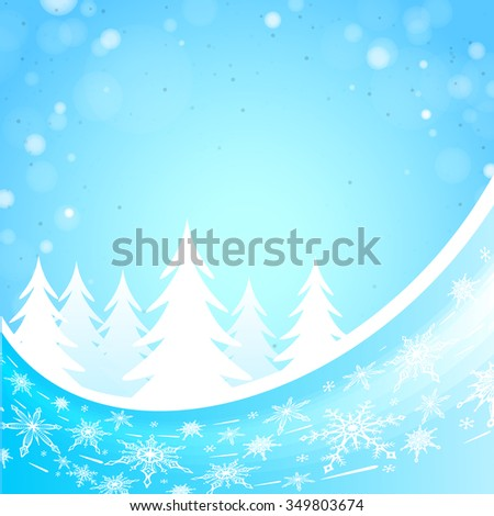 Winter forest background with snowflakes and wave elements