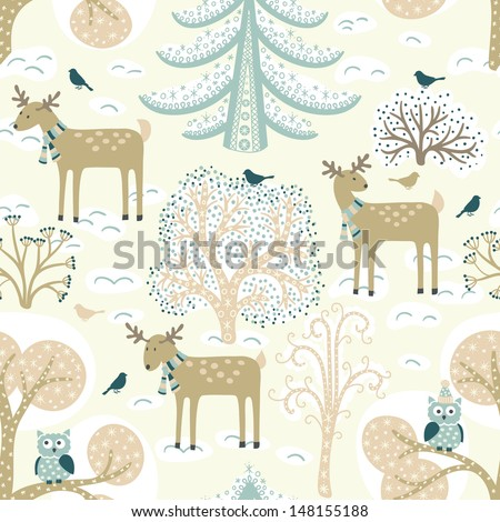Winter forest. Christmas seamless pattern - stock vector