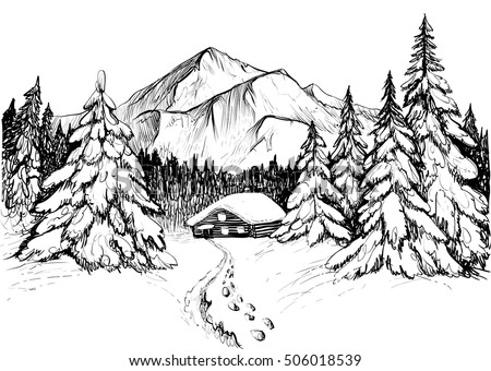 Winter forest mountains sketch black white stock vector for Forest scene drawing