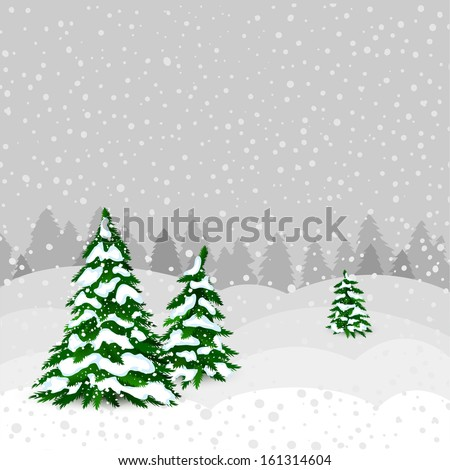 Winter forest in vector - stock vector