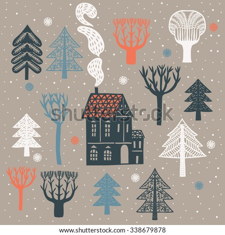 Winter Forest Print Design - stock vector