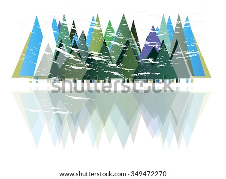 Winter forest. Snowstorm. - stock vector