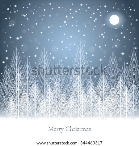 Winter forest under the moon on Christmas postcard background. Vector illustration.