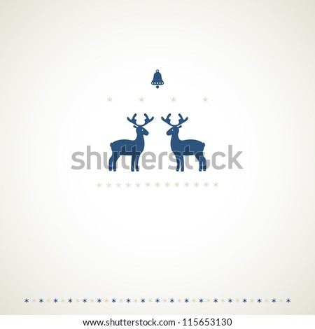 Winter frame background with deers, bell and snowflakes. Vector illustration. - stock vector