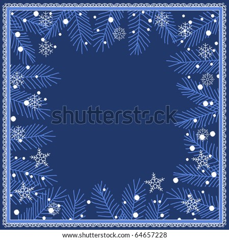 Winter frame background with snowflakes elements - stock vector