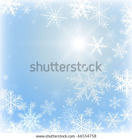 Winter frozen background with snowflakes, vector. - stock vector