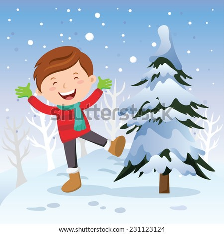 Winter fun. Boy with Christmas tree. Vector illustration of a cheerful boy playing in snow. - stock vector