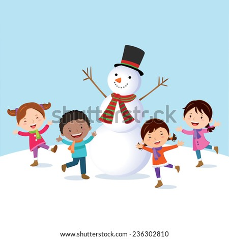 Winter fun. Cheerful kids with snowman. - stock vector