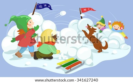 Winter fun. Children playing snowball happily. Snow ball fight vector illustration - stock vector