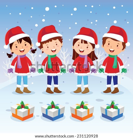 Winter fun. Christmas carols. Children choir singing happily on winter background. - stock vector