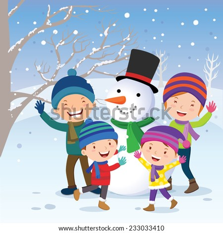 Winter fun. Family with snowman. - stock vector