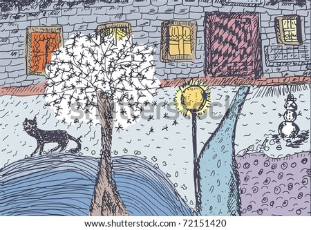 Winter funny landscape with house and cat - stock vector