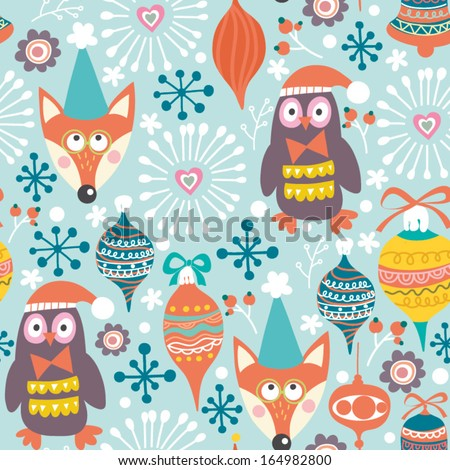 Winter gentle pattern with foxes, birds, snowflakes and flowers. - stock vector