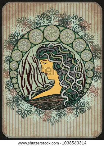 Winter girl card in art nouveau style, vector illustration