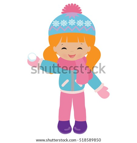 Winter girl vector cartoon illustration