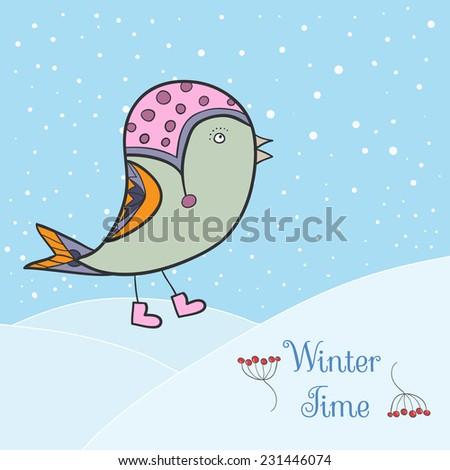 Winter green bird. Bird in clothing - stock vector
