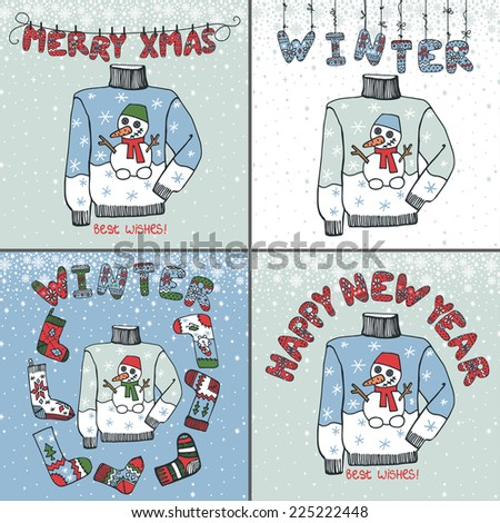 Winter greeting card set. Knitted letters,sweater,socks with folk ornament.Funny doodles.For winter design template.New year ,Christmas Vector card - stock vector