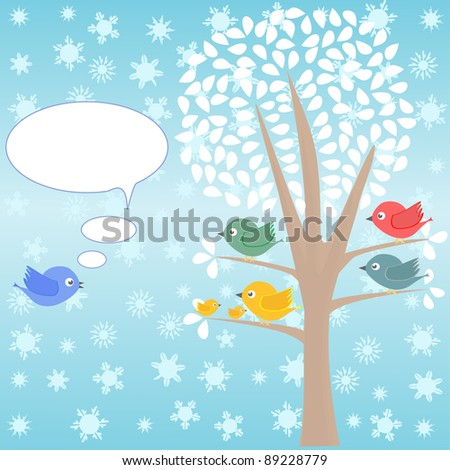 winter Greeting card with birds under tree vector - stock vector