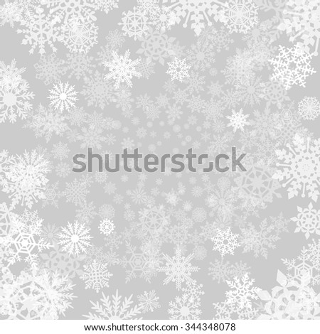 Winter grey  background with snowflakes. Vector paper illustration.art - stock vector