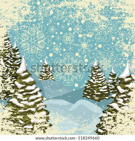 Winter grungy postcard with snowy Christmas trees - stock vector