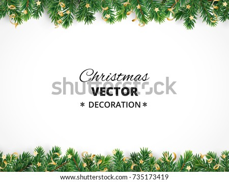Winter Holiday Background Border With Christmas Tree Branches And Ornaments Isolated On White Fir