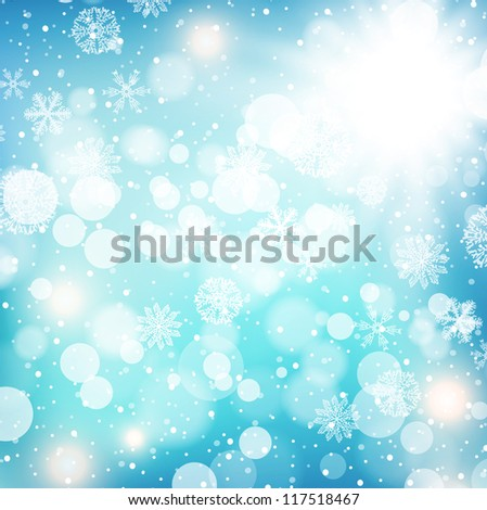 Winter Holiday Background With Snowflakes and Snow