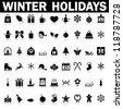 Winter Holiday Icons,  Vector - stock vector