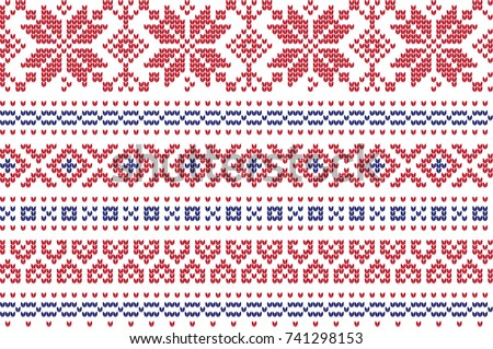 Winter Holiday Knitting Pattern Christmas Trees Stock Vector