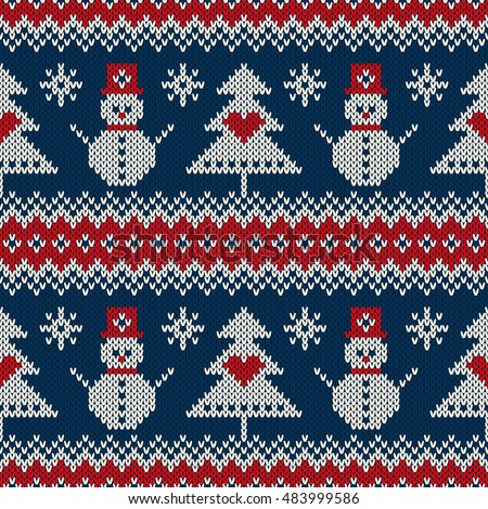 Winter Holiday Knitting Sweater Design Snowman Stock Vector Royalty