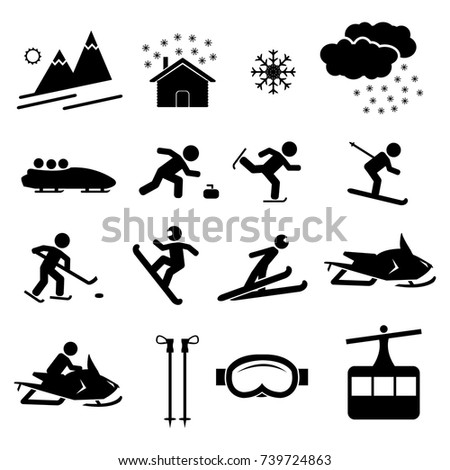 Winter holiday recreation and sports vector icon set