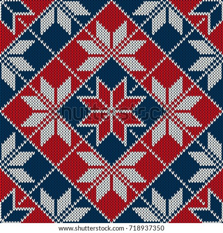 Winter Holiday Seamless Knitted Pattern Snowflakes Stock Vector ...