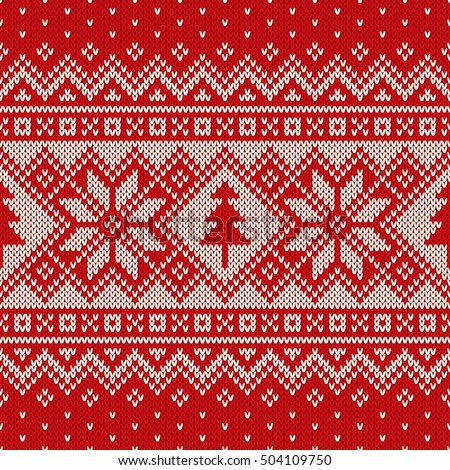 Winter Holiday Sweater Design Seamless Knitted Stock Vector ...